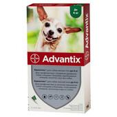 Капли на холку от блох и клещей Bayer Advantix для собак весом до 4 кг